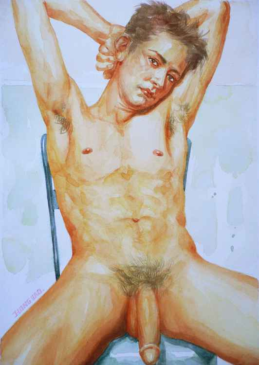 ORIGINAL WATERCOLOR  PAINTING ART MALE NUDE  GAY MEN BOY ON PAPER#12-17-011 -