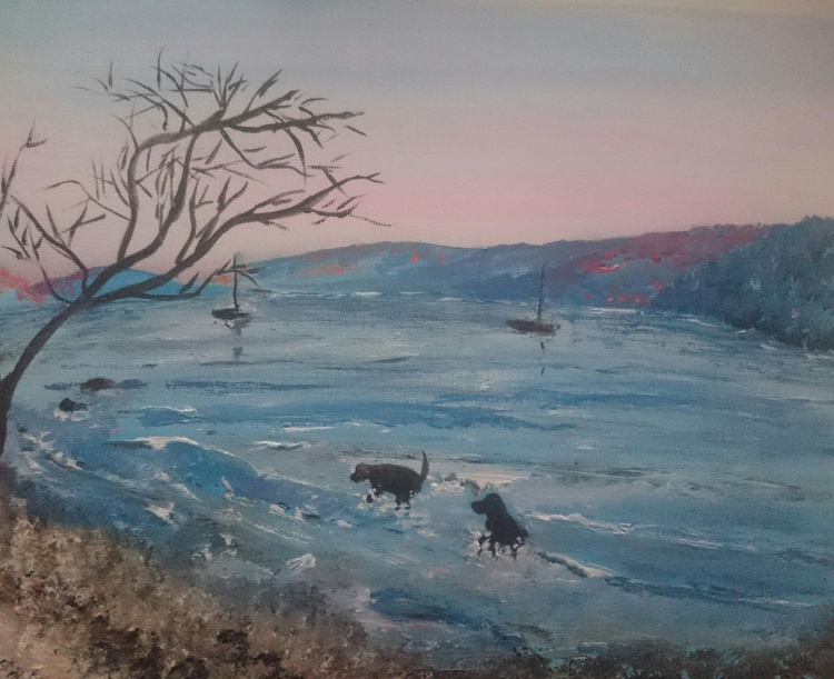 Dogs playing in lake Windermere - Image 0
