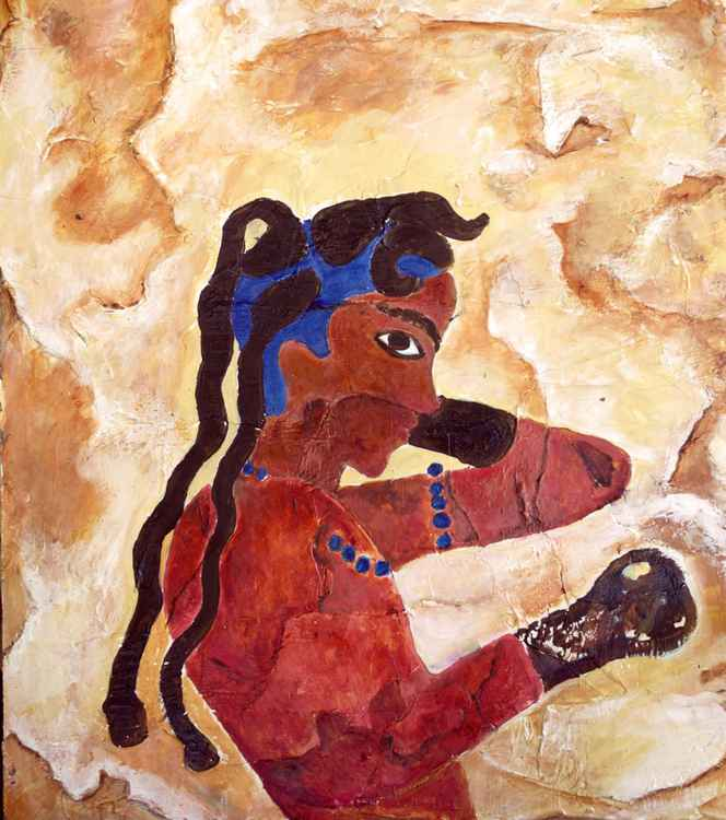 Boxer Minoan wall painting