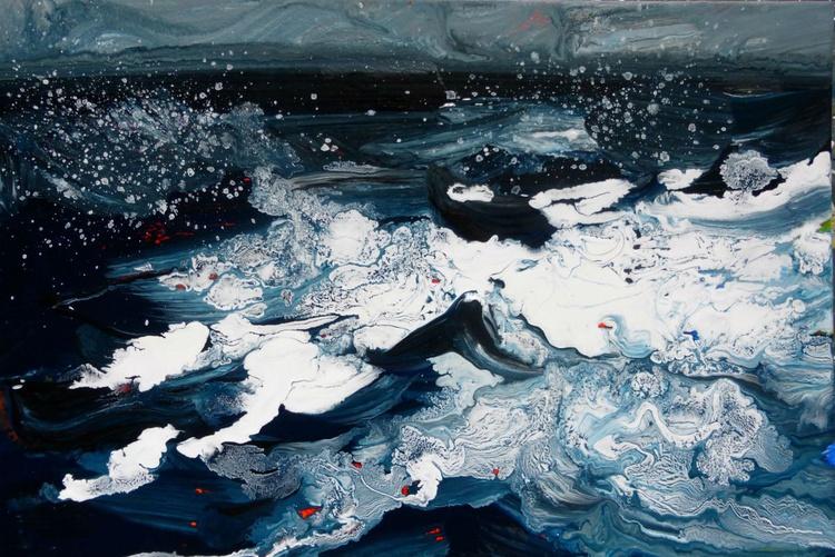 Sea waves ..., original painting 30x20 cm - Image 0
