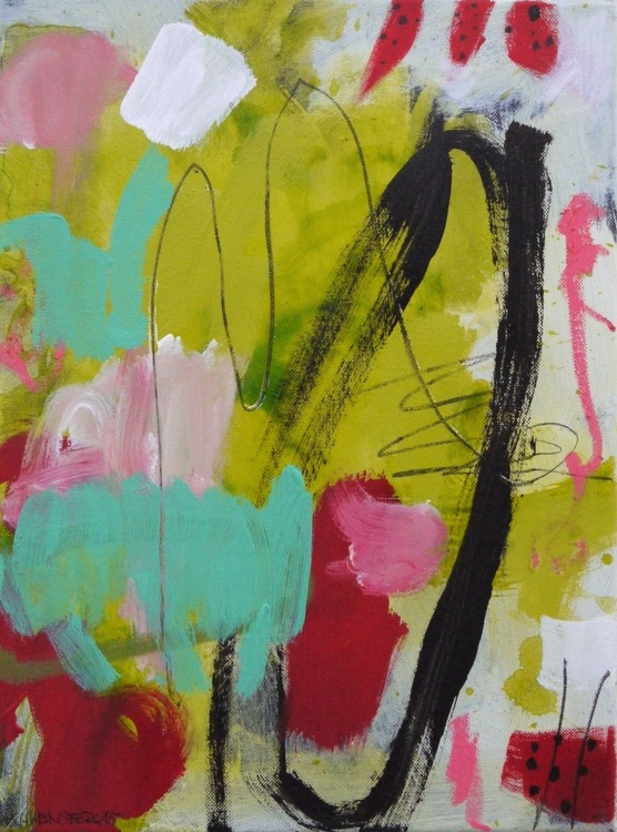 Spring Garden #3   small abstract   green lime red white pink   Work No. 2015.37 - Image 0