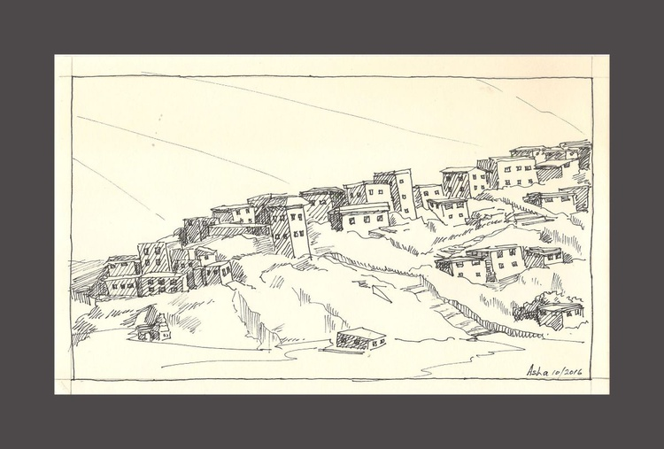 "Monastery - Ink drawing-10.25""x 6.25"" - Image 0"