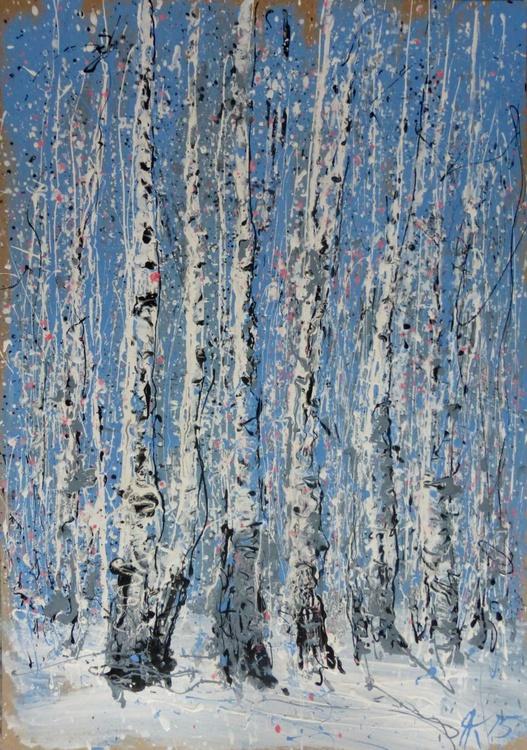 Birches, large painting 70x100 cm - Image 0