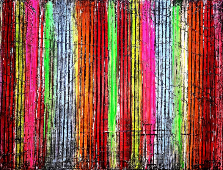 Among colorful reeds (n.225) - abstract landscape - 80 x 60 x 2,50 cm - ready to hang - acrylic painting on stretched canvas - Image 0