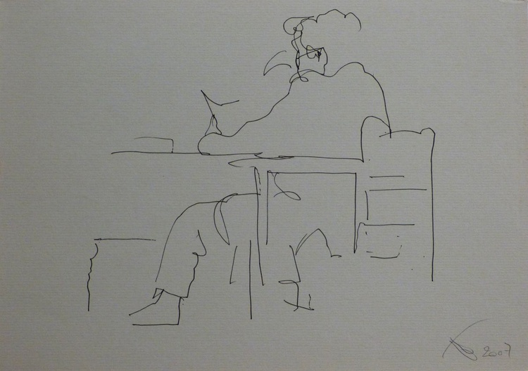Father reading a book, eco-drawing 30x21 cm - Image 0