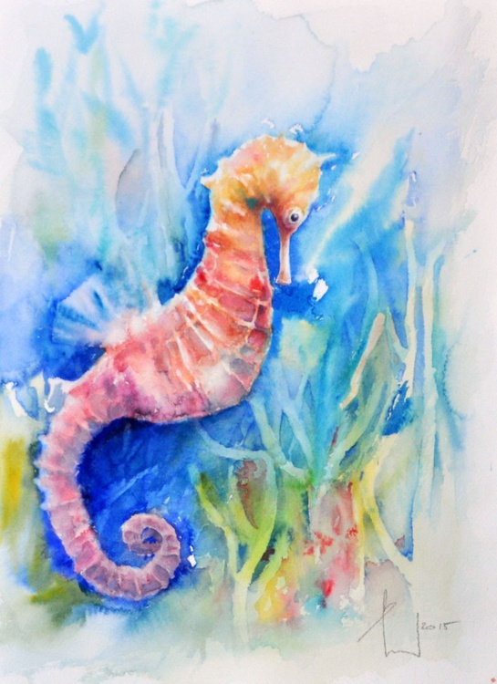 HORSE WHO SWIMM  original watercolour - Image 0