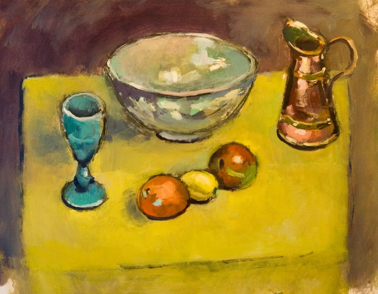 Still Life with Glass Goblet, Bowl, Jug and Fruit. - Image 0