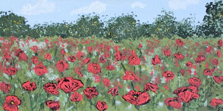 """Poppy Field 6""""x12""""(15.24x30.48 cm) - Image 0"""