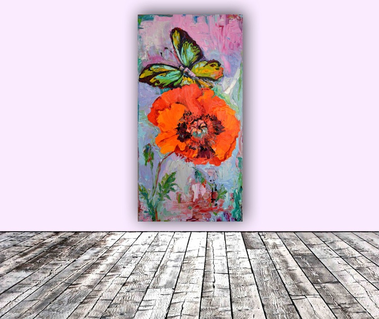 Opium Addiction, Butterfly on Poppy, FREE SHIPPING, Ready to Hang Oil Painting - Image 0