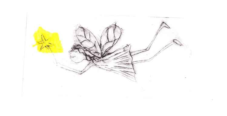 yellow light fairy grey ink