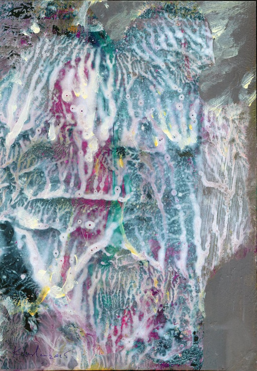 SUBLIME ANGEL DECALCOMANIA PAINTING BY MASTER KLOSKA AFORDABLE ORIGINAL GRAB IT! - Image 0