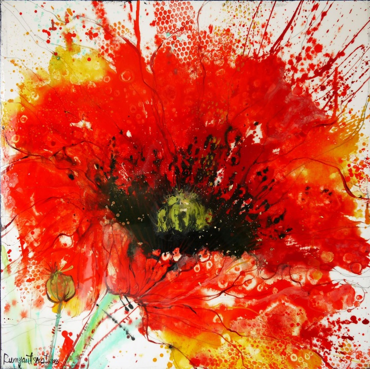 The Red Poppy - 91cm x 91cm x 4cm, ready to hang - Image 0