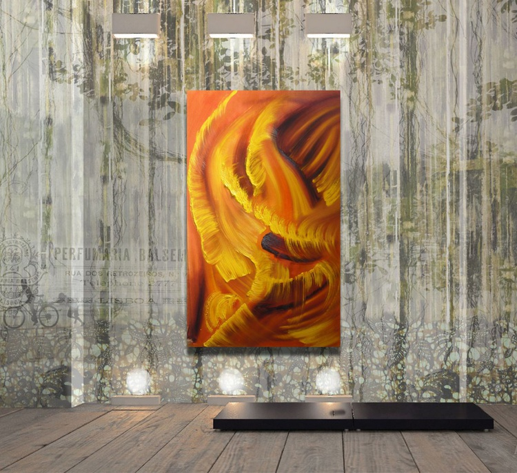 Idyll in yellow - 35x60 cm,  Original abstract painting, oil on canvas - Image 0