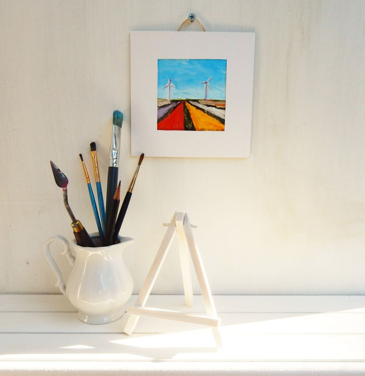 Tulip fields with mills in Holland. Landscape Miniature. Easel is included. Gift painting. Ready to hang. - Image 0