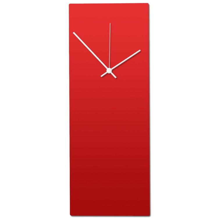 Redout White Clock   Modern Metal Wall Clock, Minimalist Red & White - Image 0