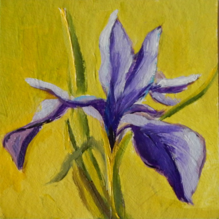 Flower on green. Miniature. Easel is included. Gift painting. Ready to hang. - Image 0