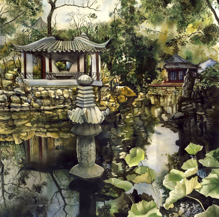 Chinese garden reflection - Image 0
