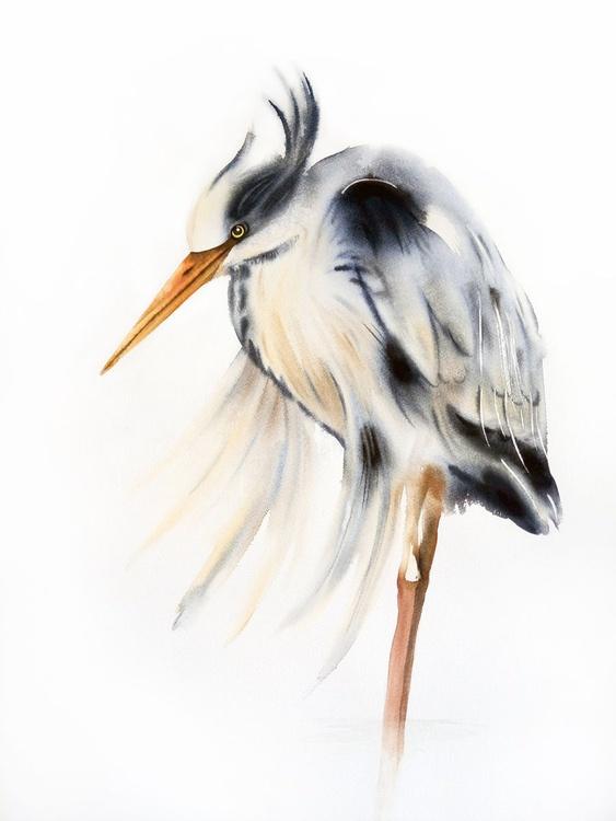 Great Blue Heron - Large fine art painting, bird painting,  heron, watercolour painting - Image 0