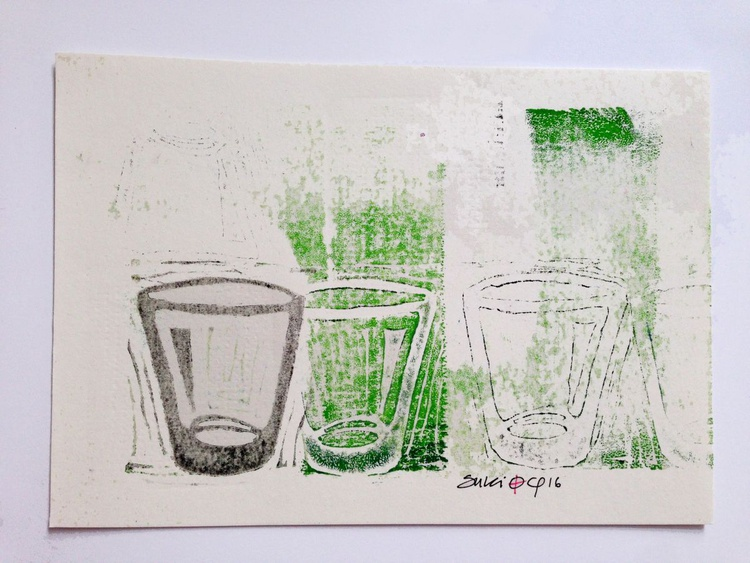 "Series ""LittleKitchenArt"": 3 Glasses With Green/2 - Image 0"