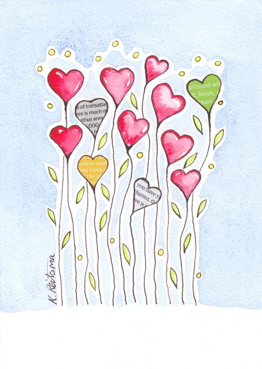 Heart Flowers, Mixed Media Flower series - Image 0