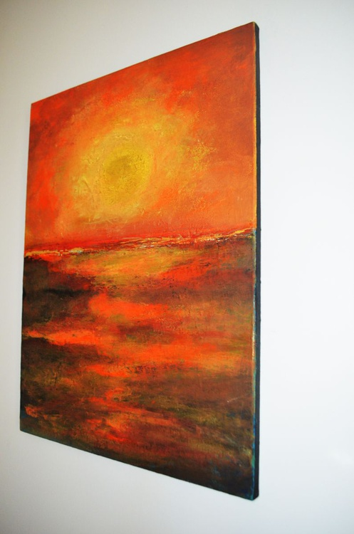 "Abstract Sunset orange Gold  yellow  brown ""In the heat of the night"" - Image 0"