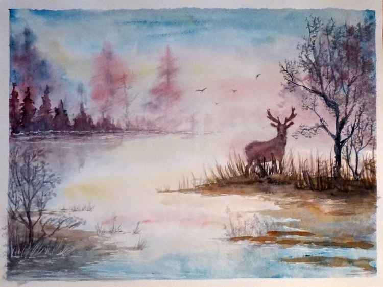 Landscape With A Deer -