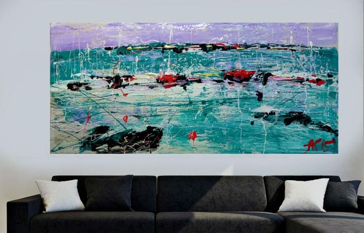 Yachts, large acrylic painting 65x140 cm - Image 0