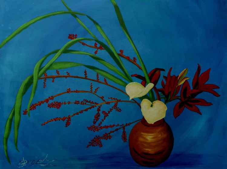 Flowers on Blue -