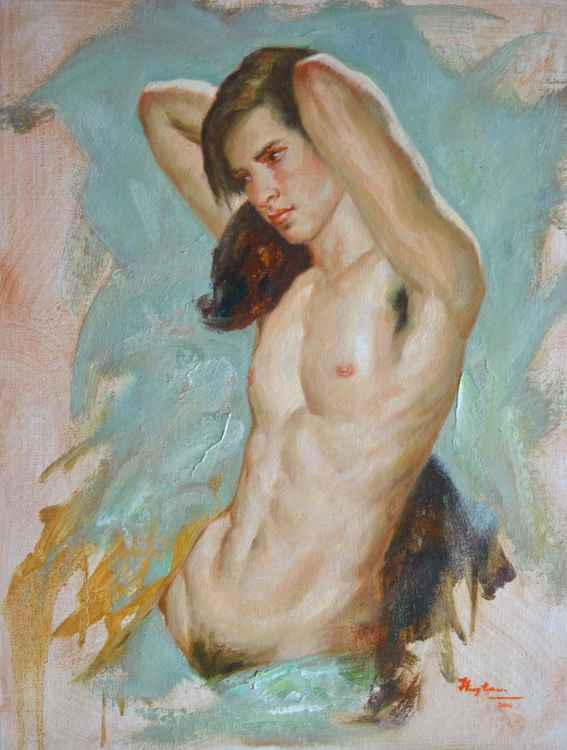 ORIGINAL OIL PAINTING NUDE ART PORTRAIT OF HANDSOME MAN  ON LINEN#16-8-9 -