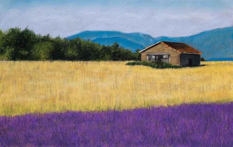 "Original pastel drawing ""Landscape with lavender"" -"