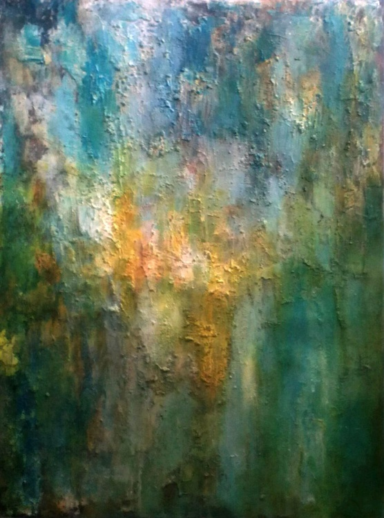 ABSTRACT LANDSCAPE - Large textured painting on stretched canvas 80x60x1.3cm - Image 0