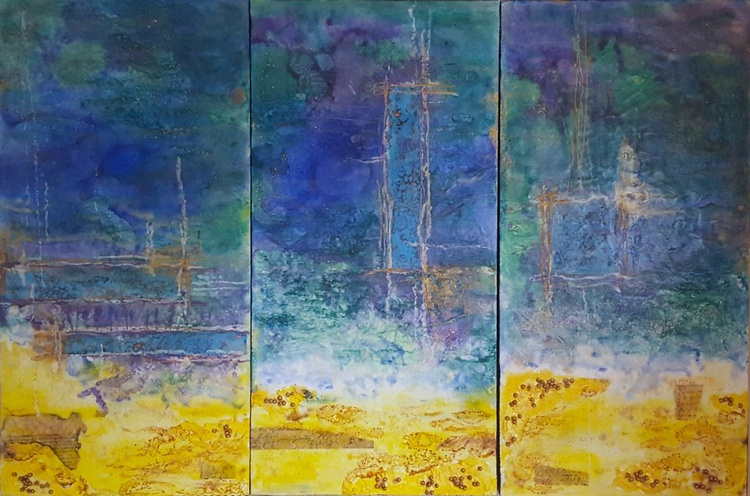 Deep Blue, encaustic on board - Image 0