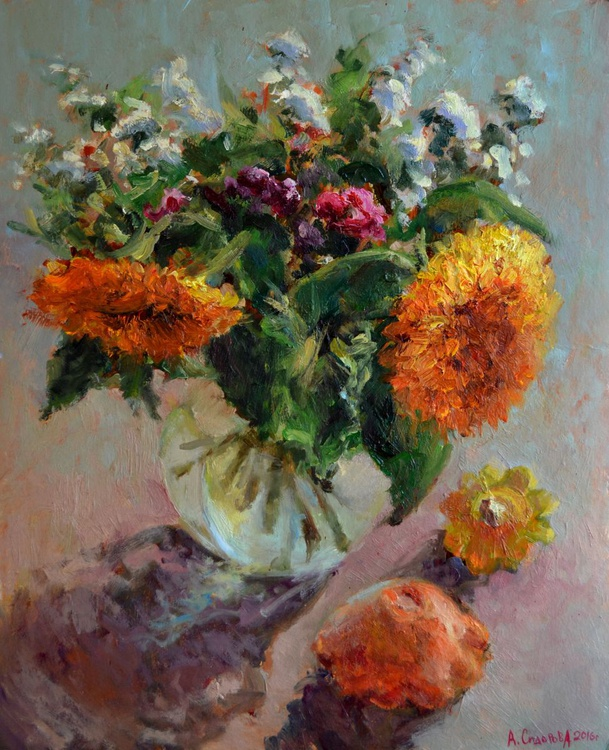 Sunflowers and bush pumpkins - Image 0