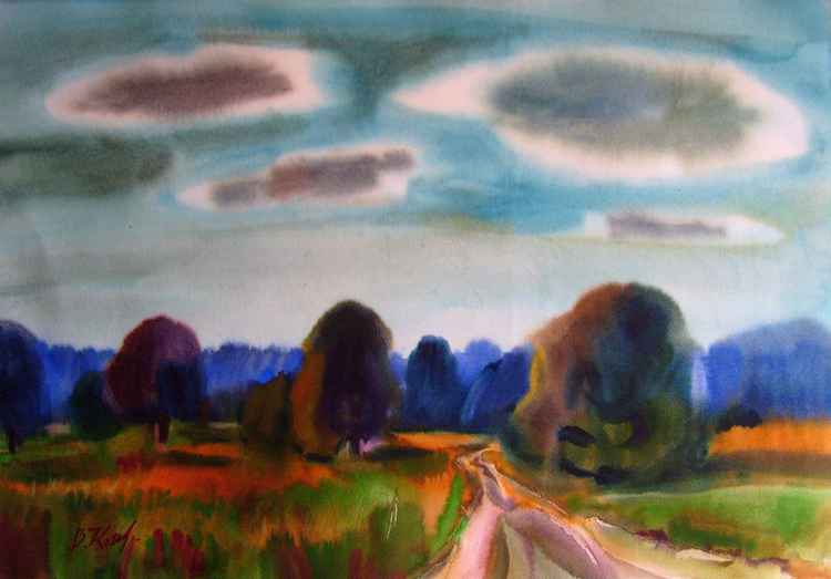 Clouds and Trees, watercolor 52x75 cm -