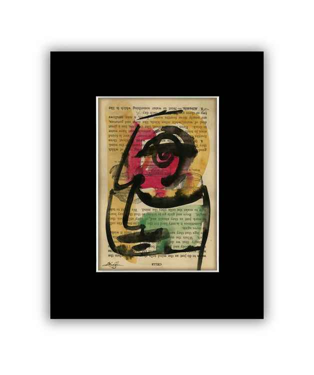 """I See 3"" on Antique Book Page - Abstract Watercolor Painting -"