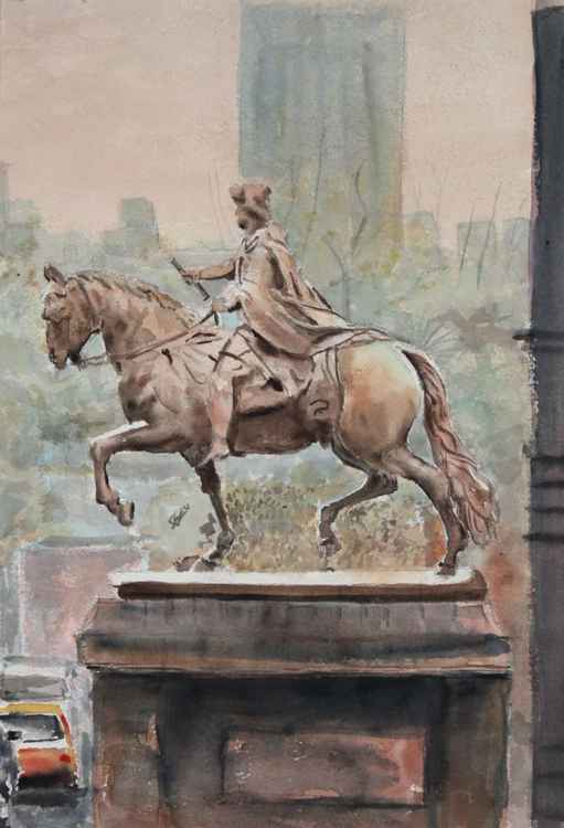 Cityscape . Equestrian Monument.