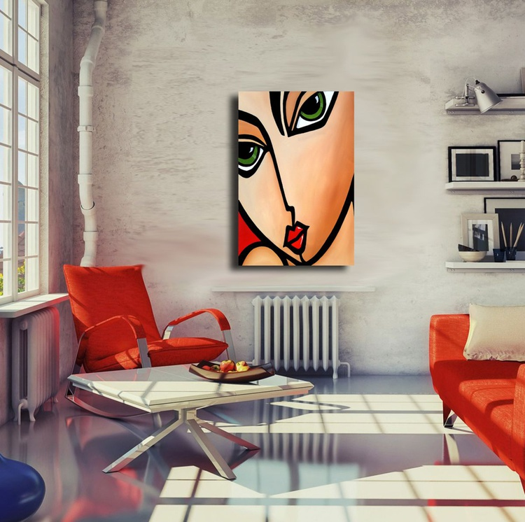 Abstract art painting Modern Home Decor wall canvas woman portrait by Fidostudio - Origins - Image 0