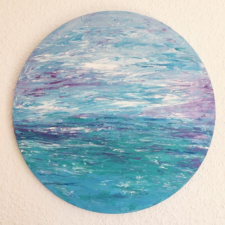 Peace (Seascape or Abstract Art) Ready to hang on a circular deep edge canvas - Image 0