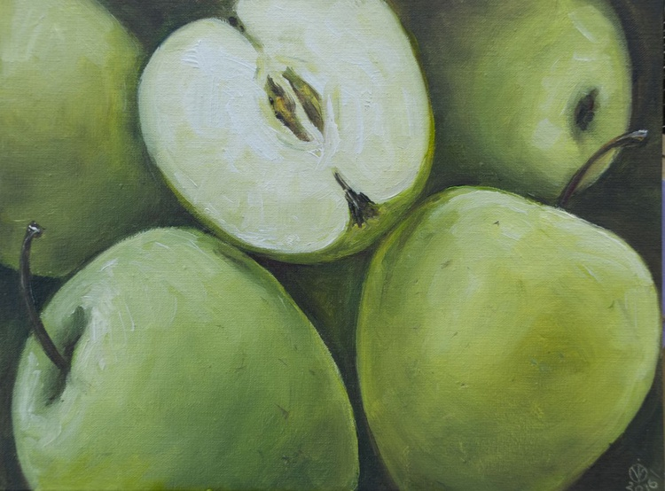 Green Apples (18x24cm) original oil painting still life realistic miniature small gift kitchen decor - Image 0