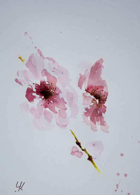 """Cherry blossom"", original watercolour painting, 28x38 cm -"