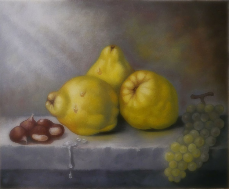 Still life with quinces chestnuts and grapes - Image 0