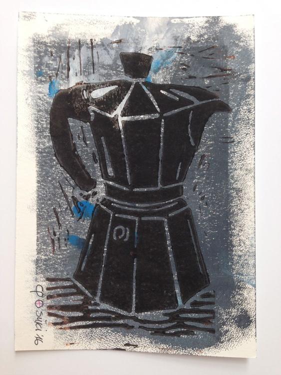 "Series ""LittleKitchenArt"": Black Espresso Maker - Image 0"