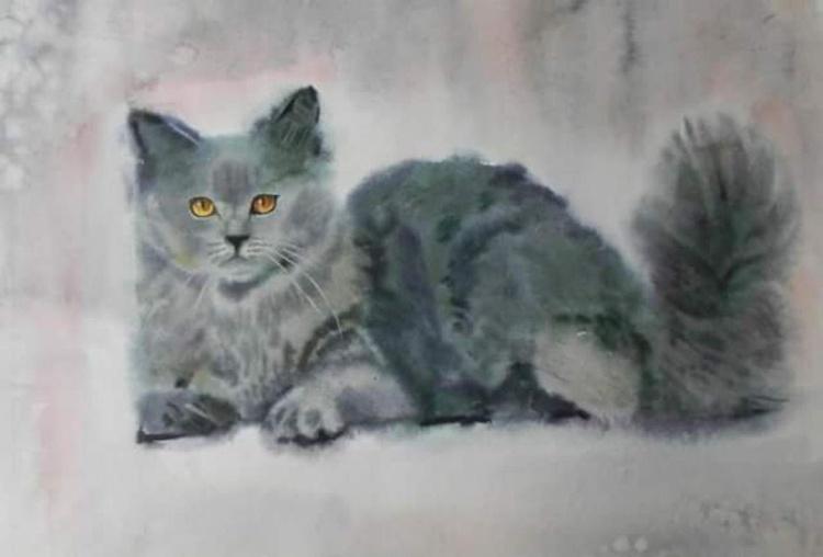gray cat, original watercolor 50x70 cm - Image 0