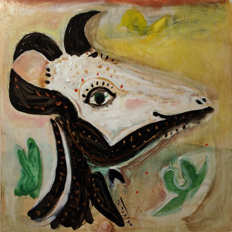 Goat's head in profile (inspired by one of the Picasso's ceramic plates) - Image 0