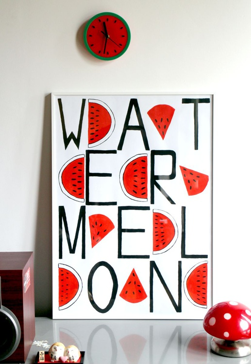 Watermelon Text Pattern Framed Pop Art Painting - Image 0