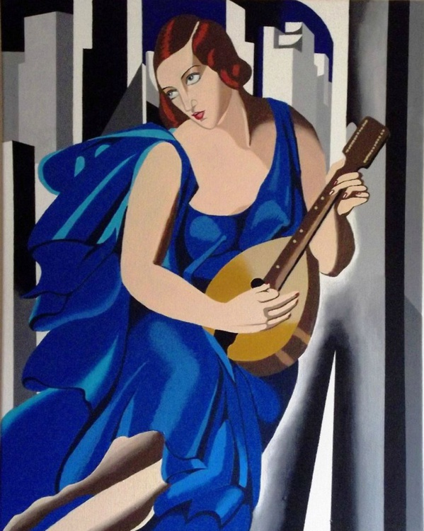 Lady in Blue with Guitar - reproduction - Image 0
