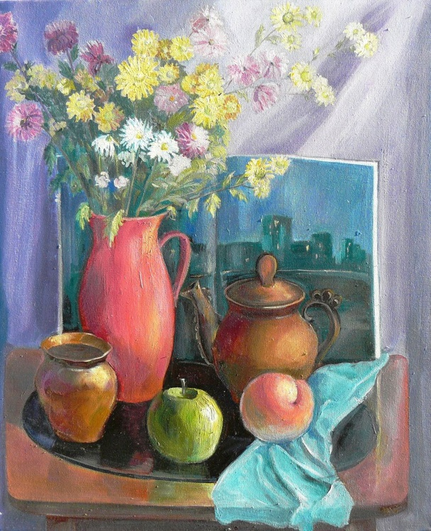 Still life with chrysanthemums - Image 0