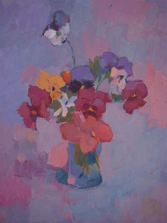 Vase of Pansies, Still life Original oil painting,  Handmade artwork, One of a kind Signed with Certificate of Authenticity - Image 0