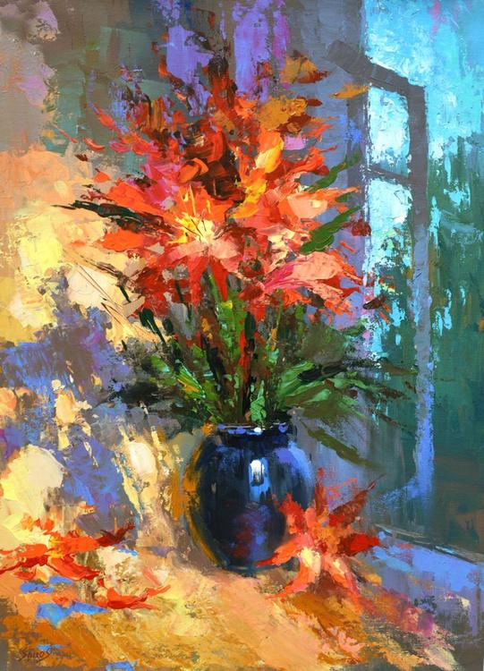 "Evening flowers - Original Oil acr. palette knife Painting, Size: 58cmx40cm, (23""x 16"") - Image 0"