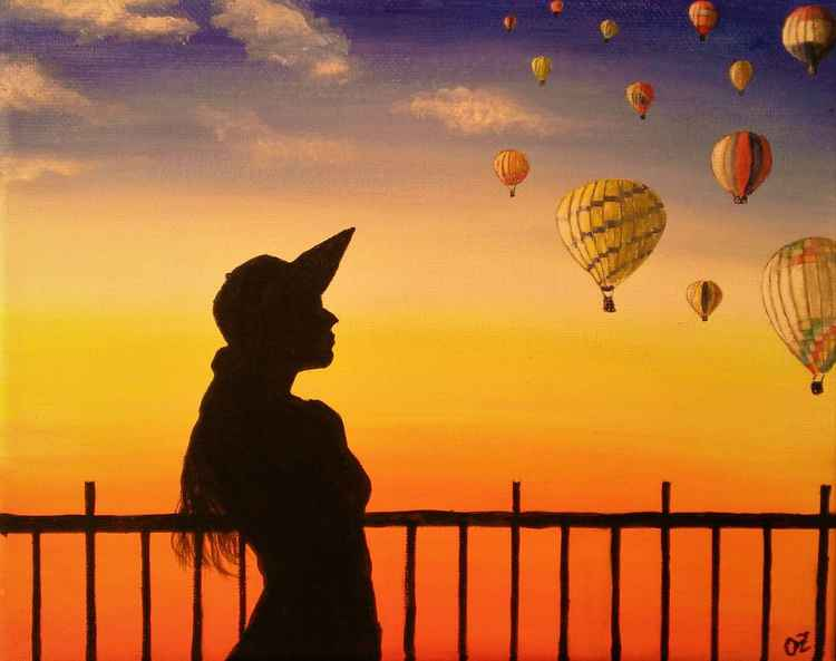 Woman Watching Air Balloons